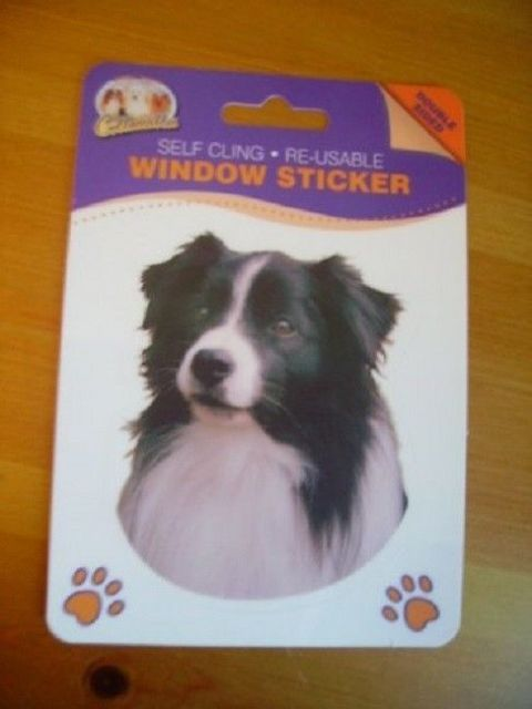 BORDER COLLIE  DOUBLE SIDED WINDOW STICKER style 2 looking to side